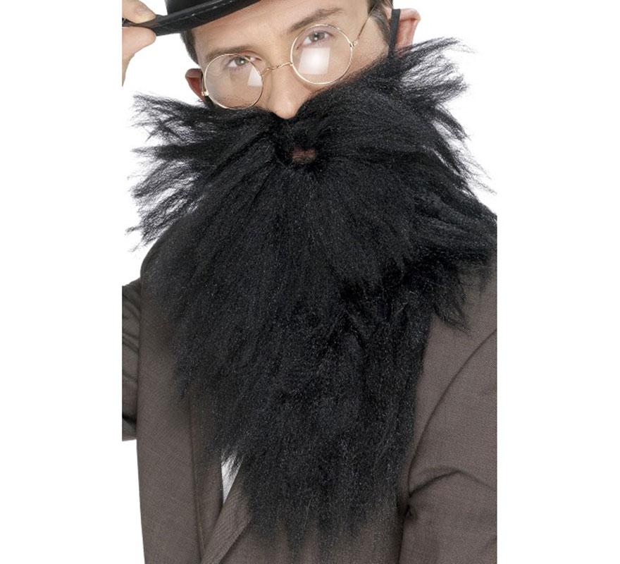 Barba larga y Bigote color Gris. Combina perfectamente para disfraces de profesor, científico, anciano, abuelo, vagabundo, etc..