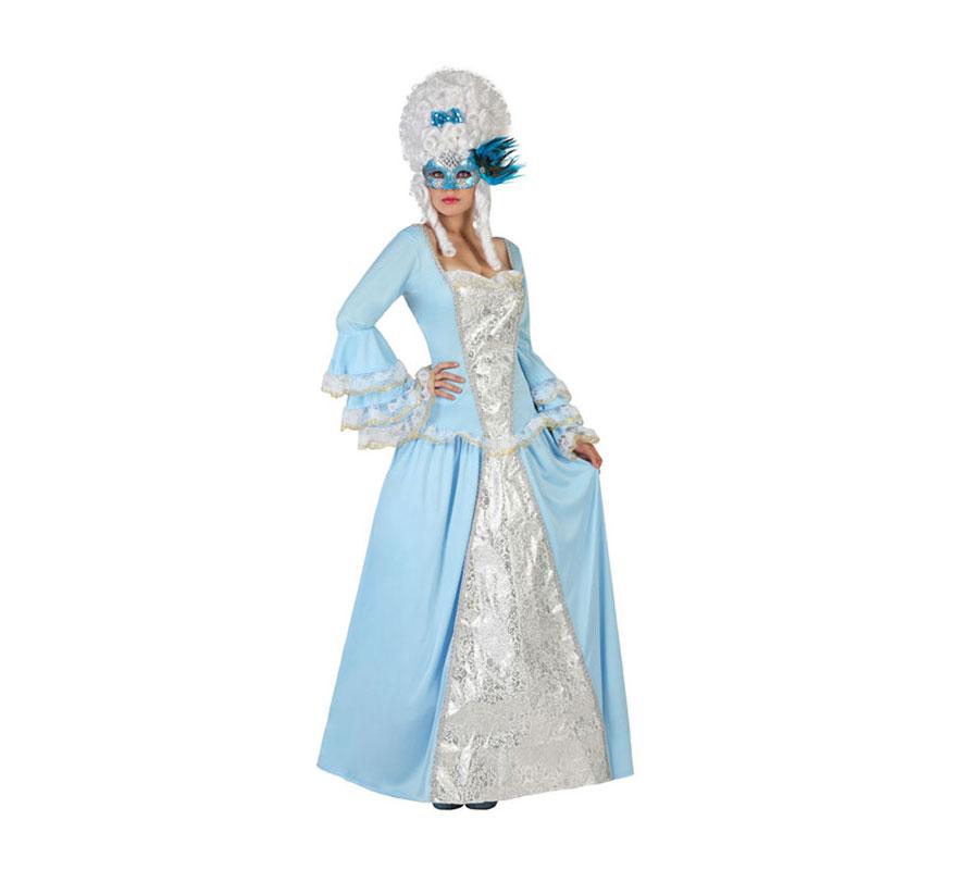 Disfraz de Cortesana de Época azul para mujer. Talla S = 34/38 para chicas delgadas y adolescentes. Incluye vestido. Peluca y antifaz NO incluidos, podrás encontrar varios modelos en la sección de Accesorios.