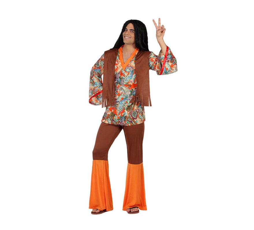 Disfraz de Hombre Hippie Estampado para hombres. Talla S = 48/52 para chicos delgados y adolescentes. Incluye pantalón con campanas y camiseta con chaleco. Peluca NO incluida. En nuestra sección de Accesorios encontrarás varios modelos diferentes.