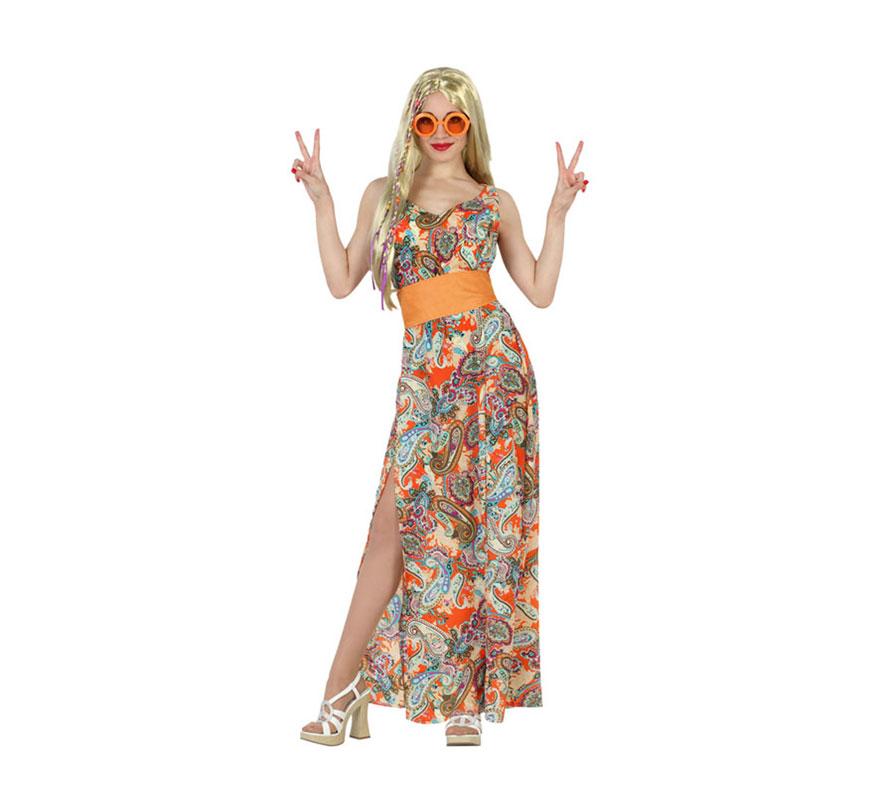 Disfraz de Mujer Hippie Estampada para mujeres. Talla M-L = 38/42. Incluye vestido y fajín. Peluca, gafas y zapatos NO incluidos. En nuestra sección de Accesorios encontrarás varios complementos.