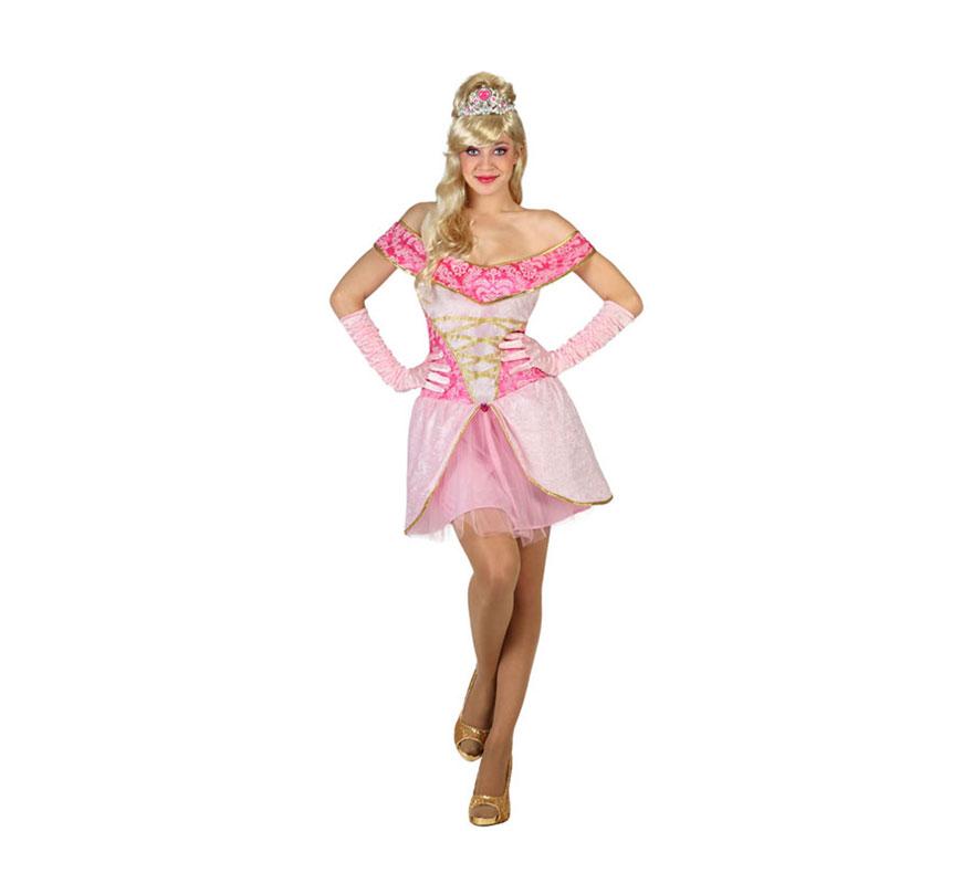 Disfraz de Princesa Bella rosa para mujer. Talla S = 34/38 para chicas delgadas o adolescentes. Incluye vestido. Peluca, corona, guantes y zapatos NO incluidos. Completa el disfraz en nuestra sección de Accesorios. Ideal para disfrazarte de la Bella Durmiente.
