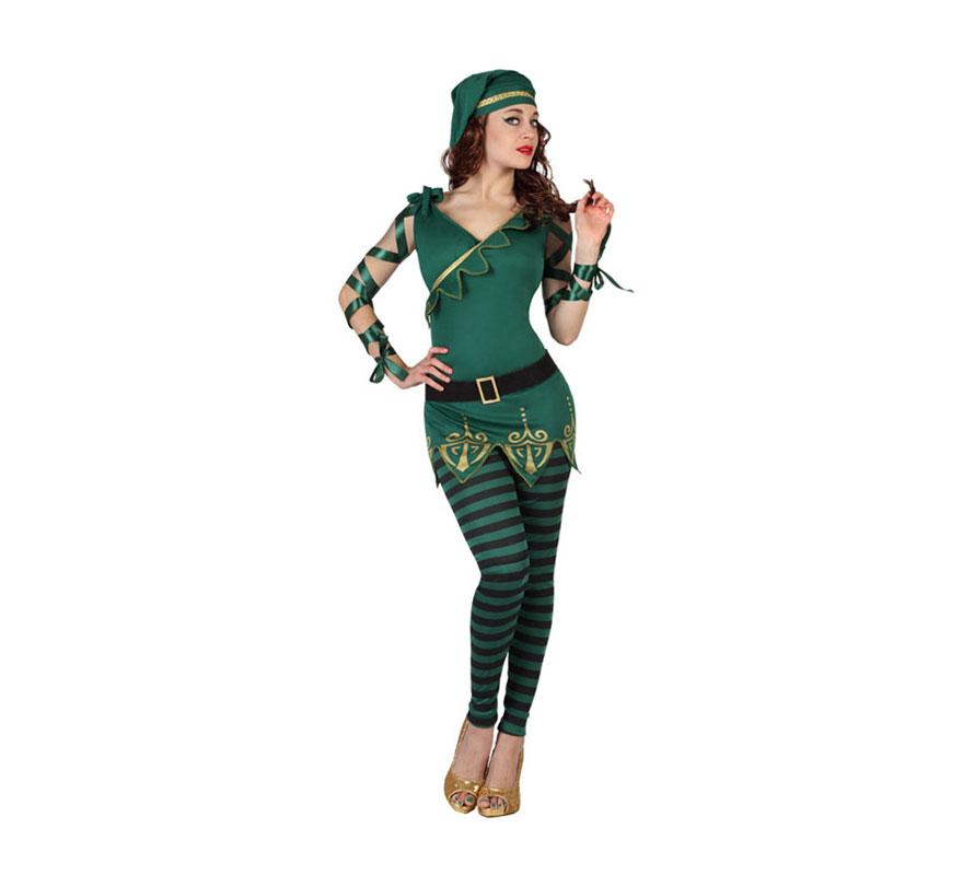 Disfraz de Duende o Elfa verde de rayas para mujer. Talla XL = 44/48. Incluye pantalón, camiseta con cinturón y gorro. Peluca y zapatos NO incluidos. Completa el disfraz con complementos de nuestra sección de Accesorios como peluca, bolso y bastón.