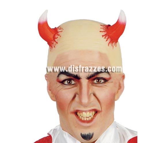 Calva con cuernos de Demonio o Diablo para Halloween.