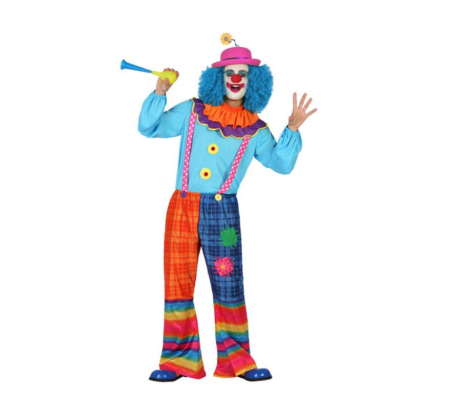 Disfraz de Payaso Alegre para hombre. Talla S = 48/52 para chicos delgados y adolescentes. Incluye camiseta con cuello y pantalón con tirantes. Sombrero, peluca, bocina y zapatos NO incluido. Podrás encontrar todos los complementos en nuestra sección de Accesorios.