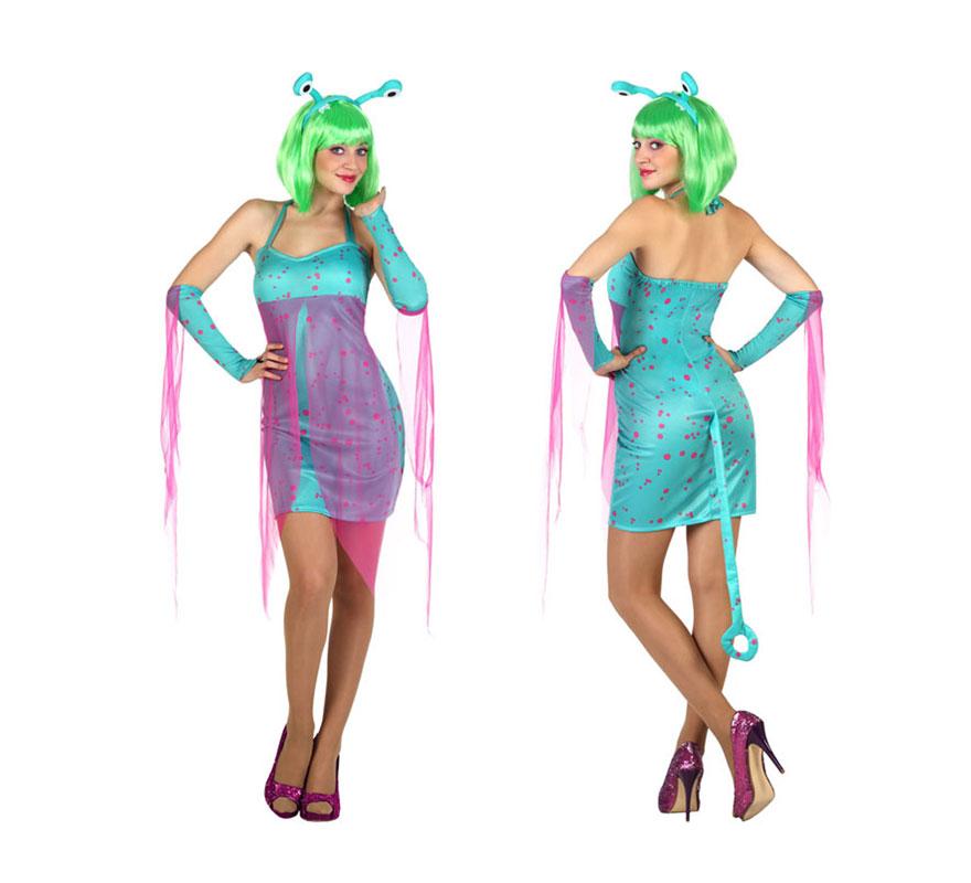 Disfraz de Alien Sexy azul para mujer. Talla S = 34/38 para chicas delgadas o adolescentes. Incluye vestido con cola, mangas y diadema. Peluca y zapatos NO incluidos. Ideal para disfrazarse de Extraterrestre o Marciano.