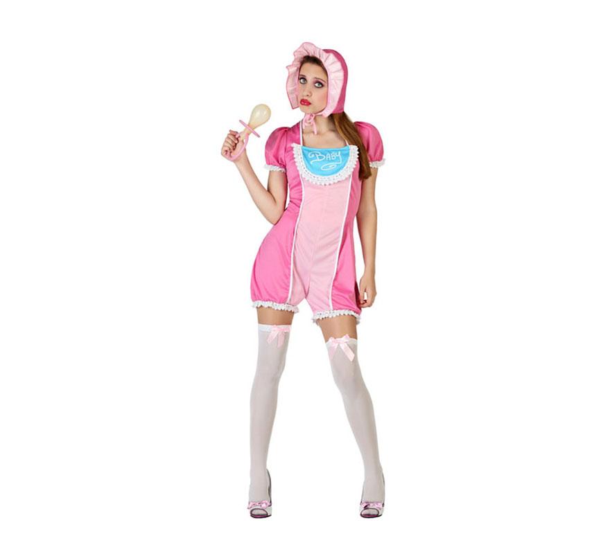 Disfraz de Chica Bebé o Baby rosa para mujer. Talla S = 34/38 para chicas delgadas y adolescentes. Incluye  gorro, mono con babero. El resto de complementos los podrás ver en la sección de Accesorios. Ideal para Despedidas de Soltera.