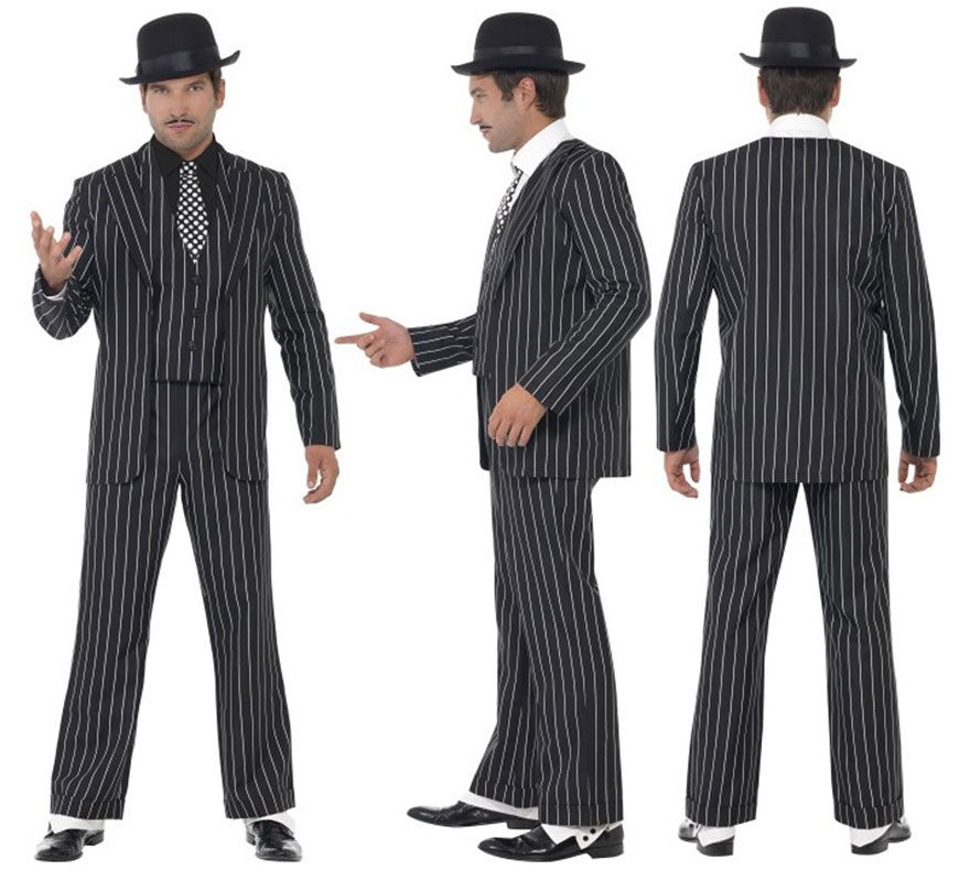 Disfraz de Capo Gánster Traje a rayas para hombre talla L 46/48. Disfraz de Jefe Gangster o Mafioso años 20 Ley Seca de Alta Calidad. Incluye Chaqueta, Pantalón, Chaleco con falsa Camisa y Corbata, no incluye sombrero ni calzado. Completa tu disfraz con nuestros artículos de la sección de complementos.