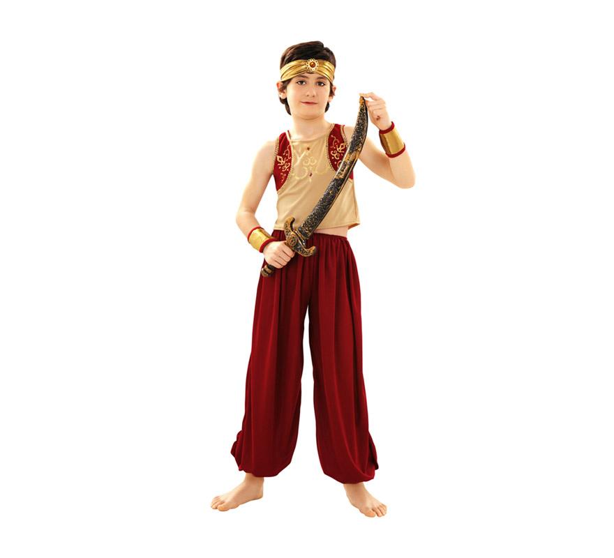 Disfraz de Aladino para niños de 7 a 9 años. Incluye top, pantalón, tocado de la cabeza y muñequeras. Espada NO incluida, podrás verla en la sección de Complementos.