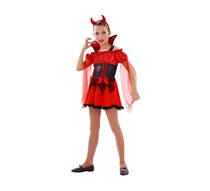 Disfraz de Demonia o Diablesa roja para niñas de 5 a 6 años. Incluye vestido y diadema con cuernos.