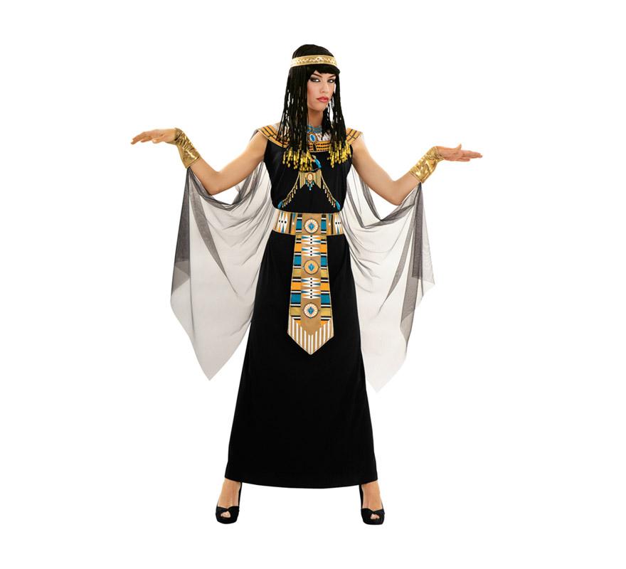 Disfraz de Reina del Nilo para mujer. Talla Standar M-L 38/42. Incluye vestido con capa, cuello, cinturón, manguitos y tocado. Peluca NO incluida, podrás verla en la sección de Complementos. Con éste disfraz y la peluca serás el vivo retrato de la Reina Egipcia, la histórica y sexy Cleopatra.