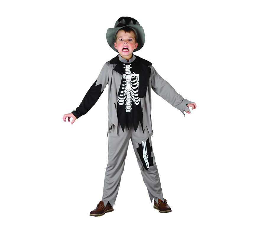 Disfraz de niño Zombie Esqueleto talla de 5 a 6 años. Incluye camiseta, pantalón, chaqueta y sombrero.