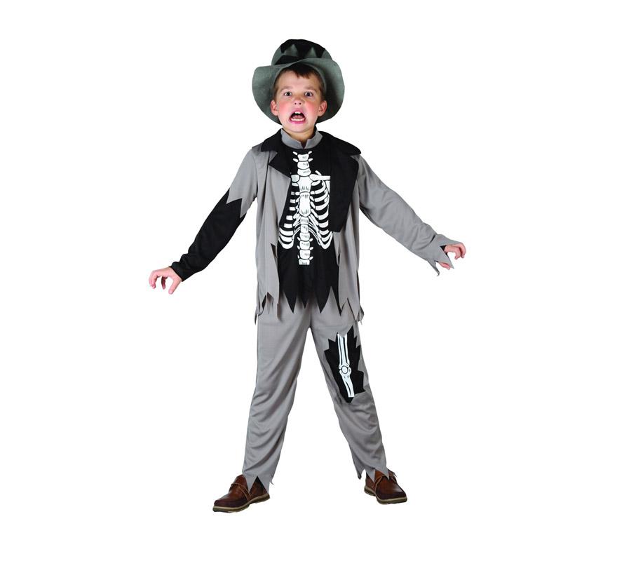 Disfraz de niño Zombie Esqueleto talla 10-12 años. Incluye camiseta, pantalón, chaqueta y sombrero.