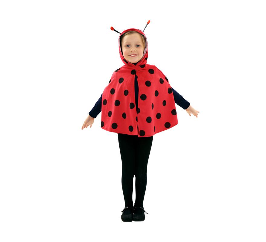 Disfraz de Mariquita para niñas de 3 a 4 años. Incluye capa con capucha.
