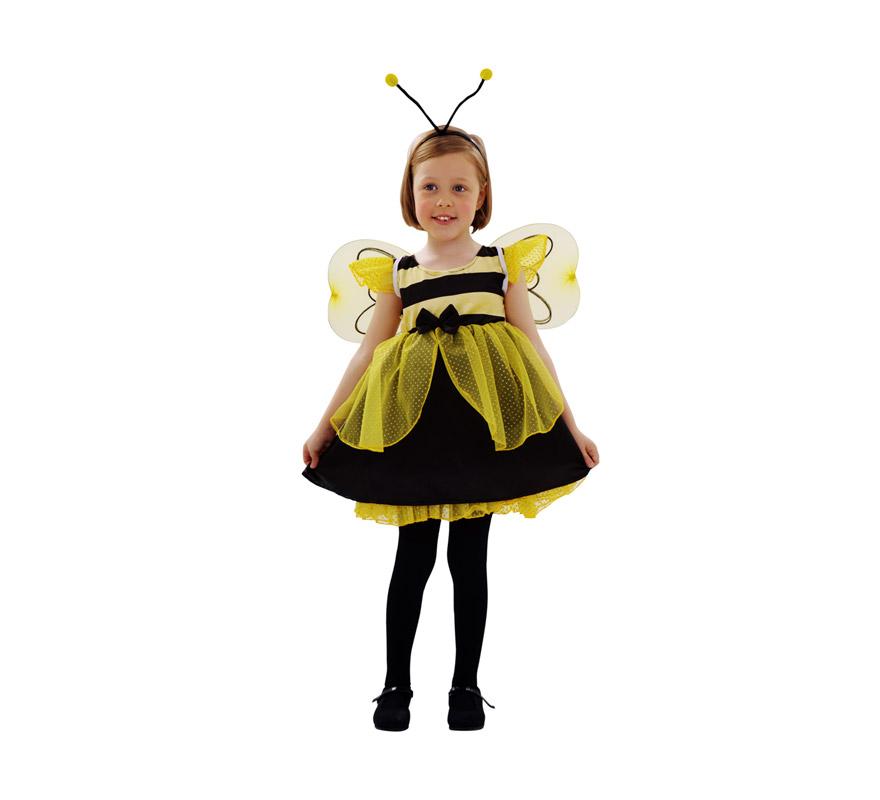 Disfraz de Abeja para niñas de 3 a 4 años. Incluye vestido, tocado y alas.