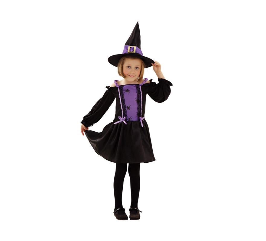 Disfraz de Bruja Araña para niñas de 3 a 4 años. Incluye vestido y sombrero.