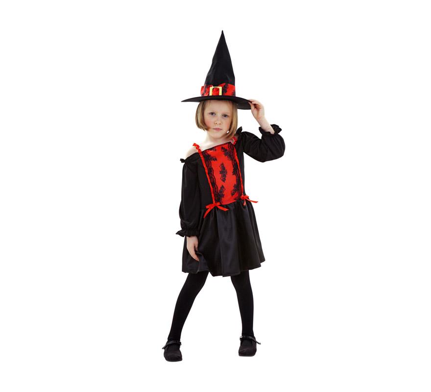 Disfraz de Bruja Murciélago para niñas de 3-4 años. Incluye vestido y sombrero.