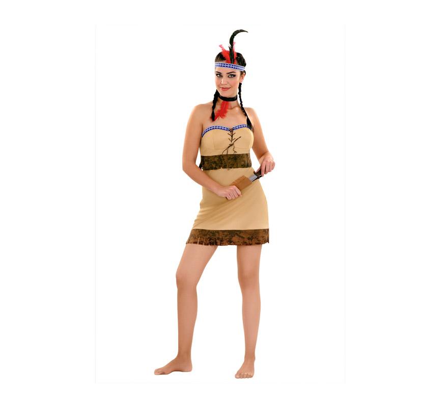 Disfraz de India para mujer. Talla standar M-L = 38/42. Incluye vestido, collar y tocado. El resto de accesorios lo podrás ver en la sección de complementos.