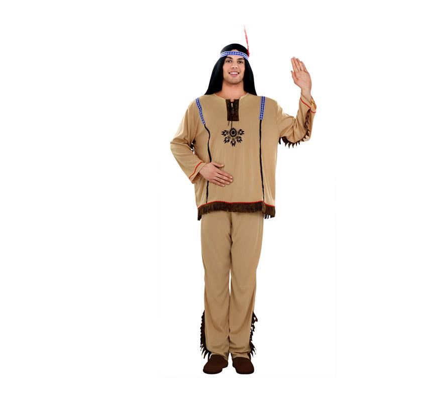 Disfraz de Indio para hombre. Talla standar M-L = 52/54. Incluye camisa, pantalón y tocado.
