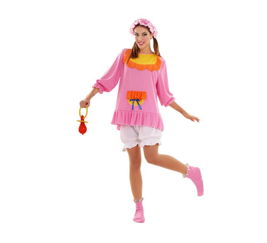 Disfraz de Bebé Rosa para mujer Talla standar M-L = 38/42. Incluye gorro, camisa y pantalón. El resto de accesorios los podrás ver en la sección de Complementos.