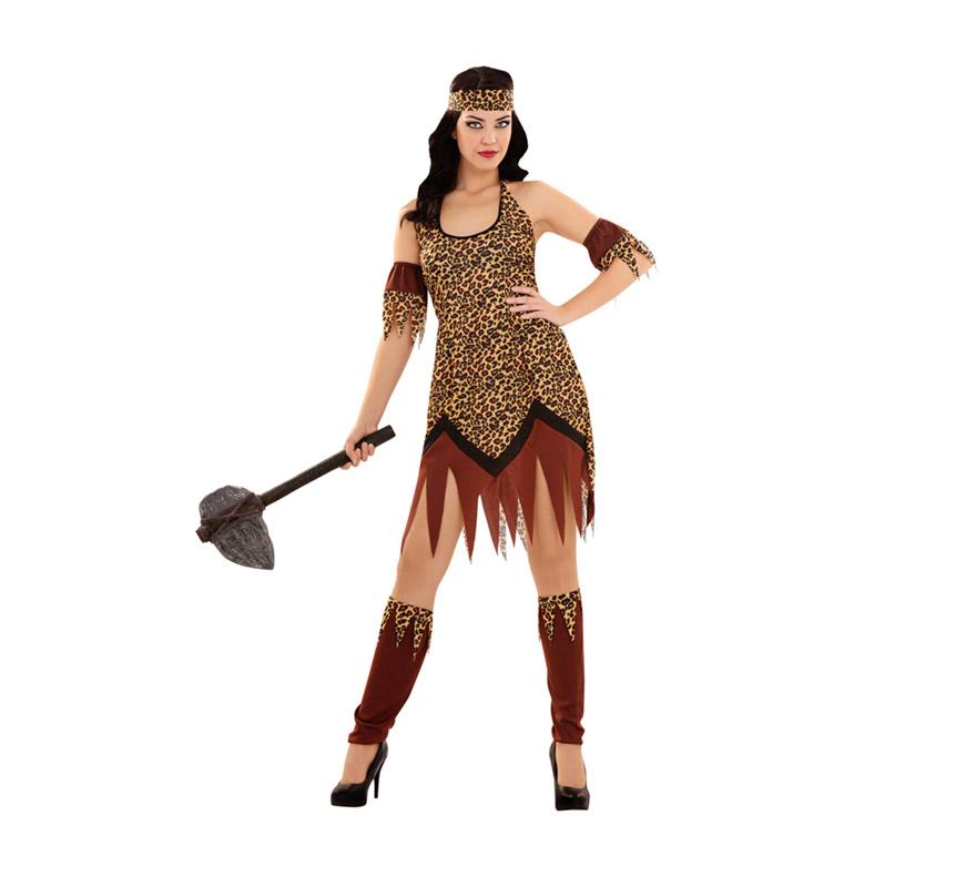 Disfraz de Troglodita para mujer. Talla standar M-L = 38/42. Incluye cinta de la cabeza, vestido, brazaletes y calentadores. Hacha NO incluida, podrás verla en la sección de Accesorios.