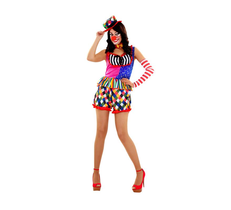Disfraz de Payasa talla M-L para mujer. Talla Standar 38/42. Incluye vestido, pajarita, sombrero y manguito.
