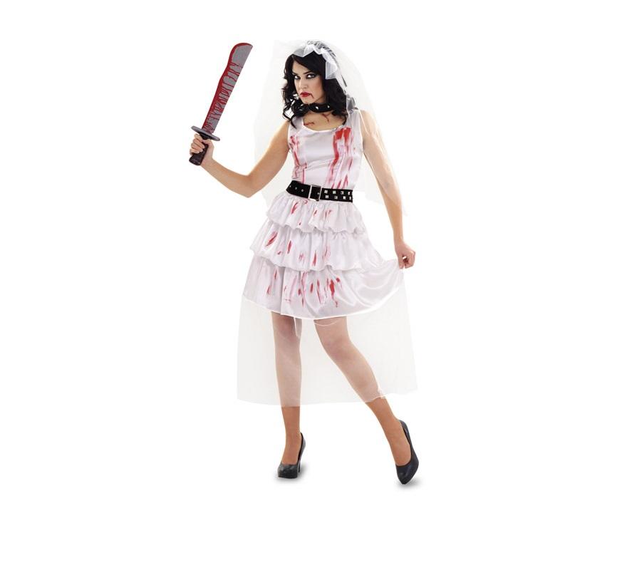 Disfraz de Novia Zombie para muje. Talla standar M-L = 38/42. Incluye vestido, cinturón, gargantilla y tocado. Con éste disfraz estarás terroríficamente guapa.