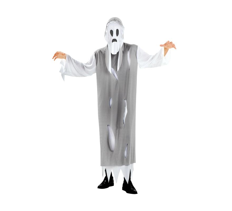 Disfraz de Fantasma talla M-L para hombre. Talla standar 52/54. Incluye capucha y túnica.