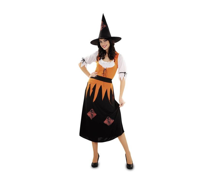 Disfraz de Bruja talla M-L para mujer. Talla standar 38/42. Incluye cinturón, vestido y sombrero.