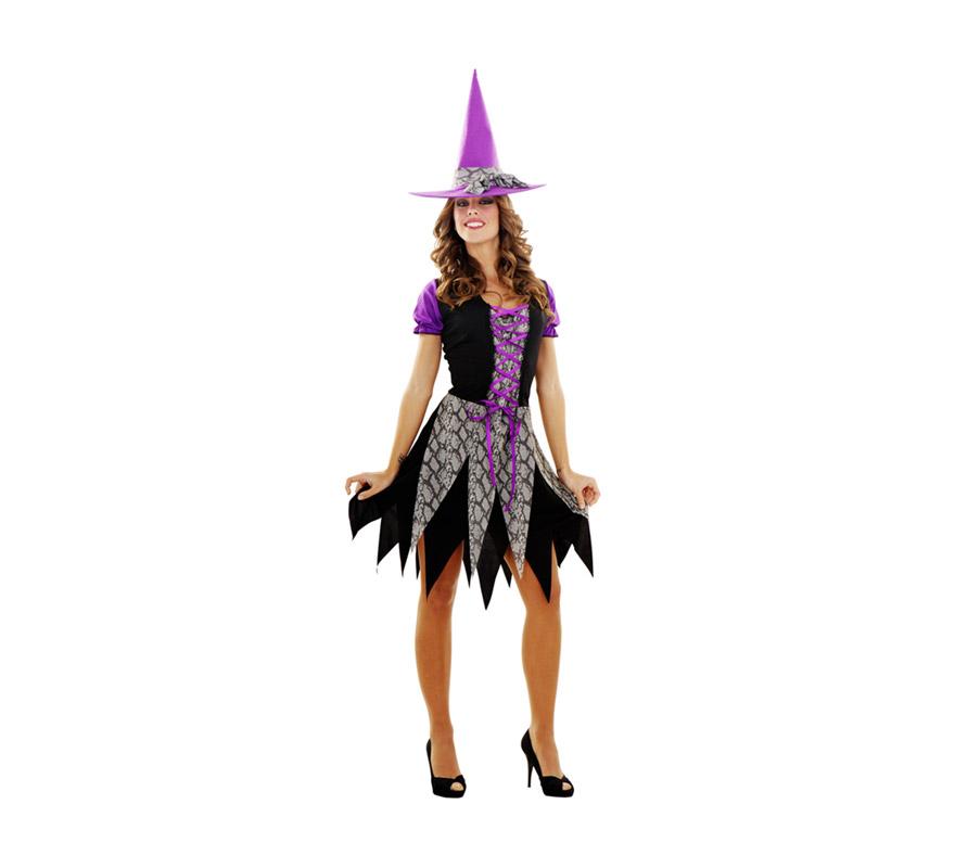 Disfraz de Bruja para mujer talla M-L. Talla standar 38/42. Incluye vestido y sombrero.