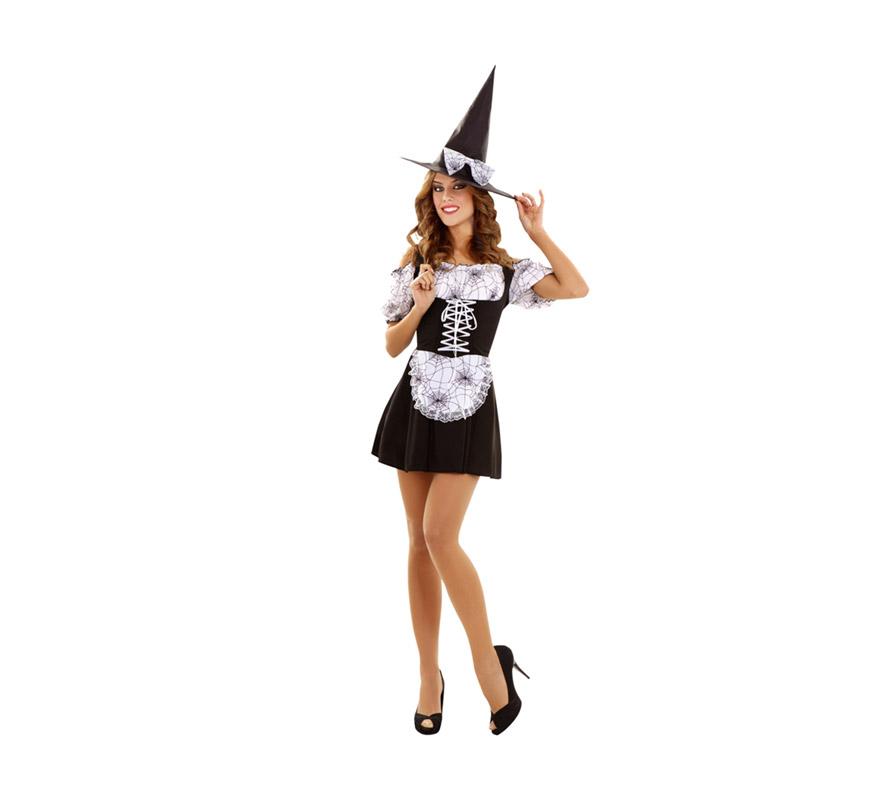 Disfraz de Bruja para mujer, talla standar M-L = 38/42. Incluye vestido y sombrero.