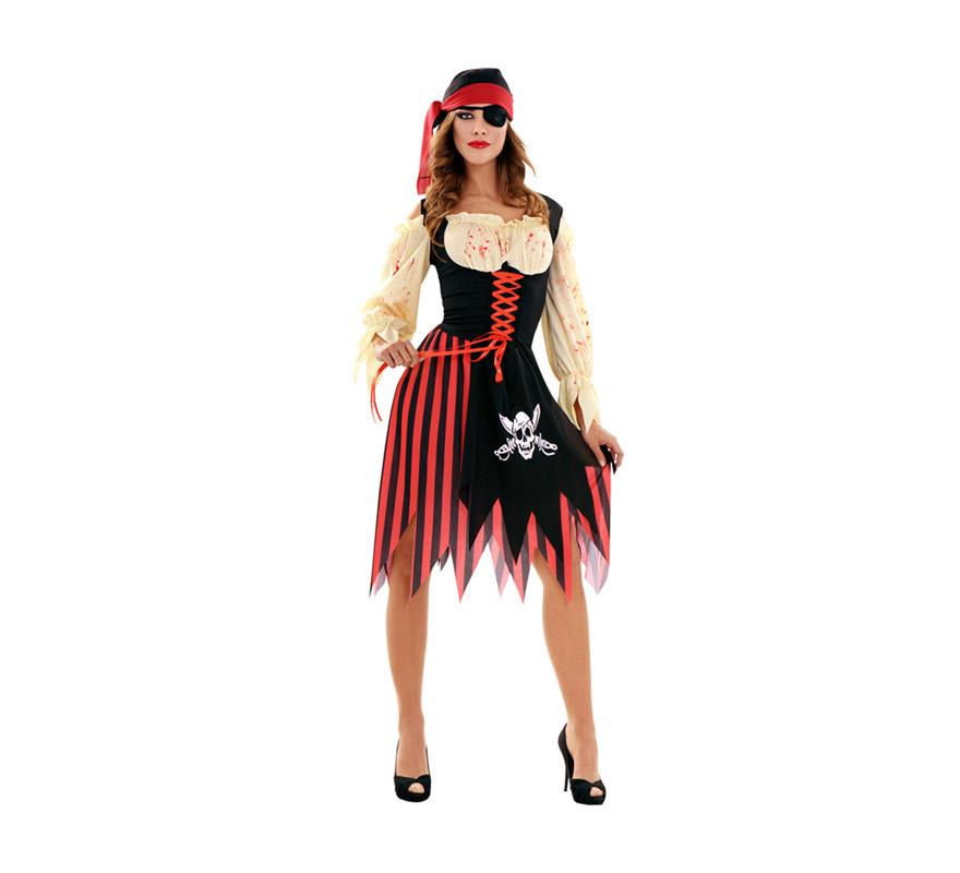 Disfraz de Zombie Pirata para mujer. Talla standar M-L = 38/42. Incluye vestido, tocado y parche.