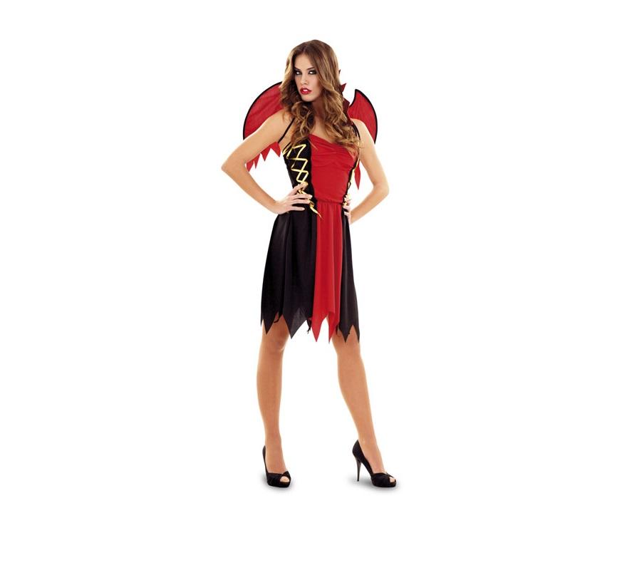 Disfraz de Demonio para mujer. Talla standar M-L = 38/42. Incluye vestido con cuello y alas. Precioso disfraz de Diablesa perfecto para Halloween.