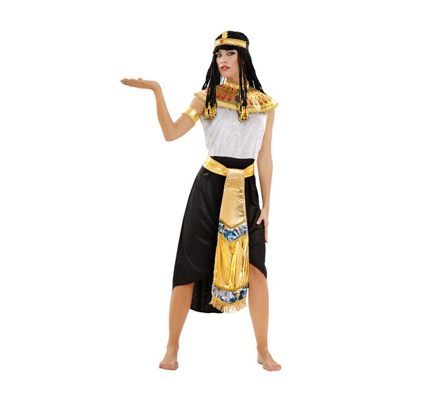 Disfraz de Reina Egipcia talla M-L para mujer. Talla standar 38/42. Incluye tocado, cuello, cinturón, vestido y puños. Peluca NO incluida, podrás verla en la sección de complementos. Con éste disfraz y la peluca serás el vivo retrato de la Reina del Nilo, la histórica y sexy Cleopatra.