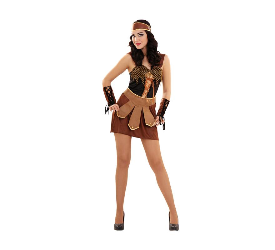 Disfraz de Guerrera talla M-L para mujer. Talla standar 38/42. Incluye vestido, tocado, cinturón y puños. Éste es uno de esos disfraces originales de Guerrera o Gladiadora que no deja indiferente a nadie.