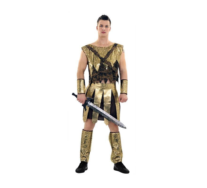 Disfraz de Guerrero o Gladiador talla M-L hombre. Talla standar 52/54. Incluye camisa, falda, espinilleras y puños. El precio NO incluye la espada que podrás verla en la sección de Complementos.