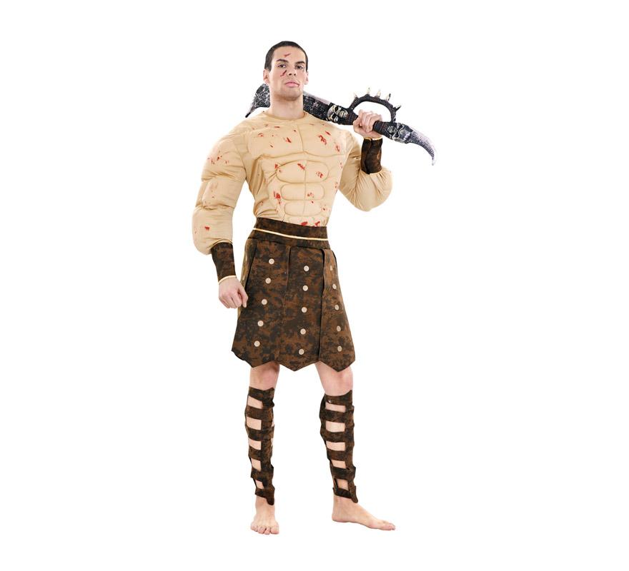 Disfraz de Guerrero o Gladiador Romano talla M-L para hombre. Talla standar 52/54. Incluye camiseta musculosa, puños, espinilleras y falda. Espada NO incluida, podrás verla en la categoría de Complementos.