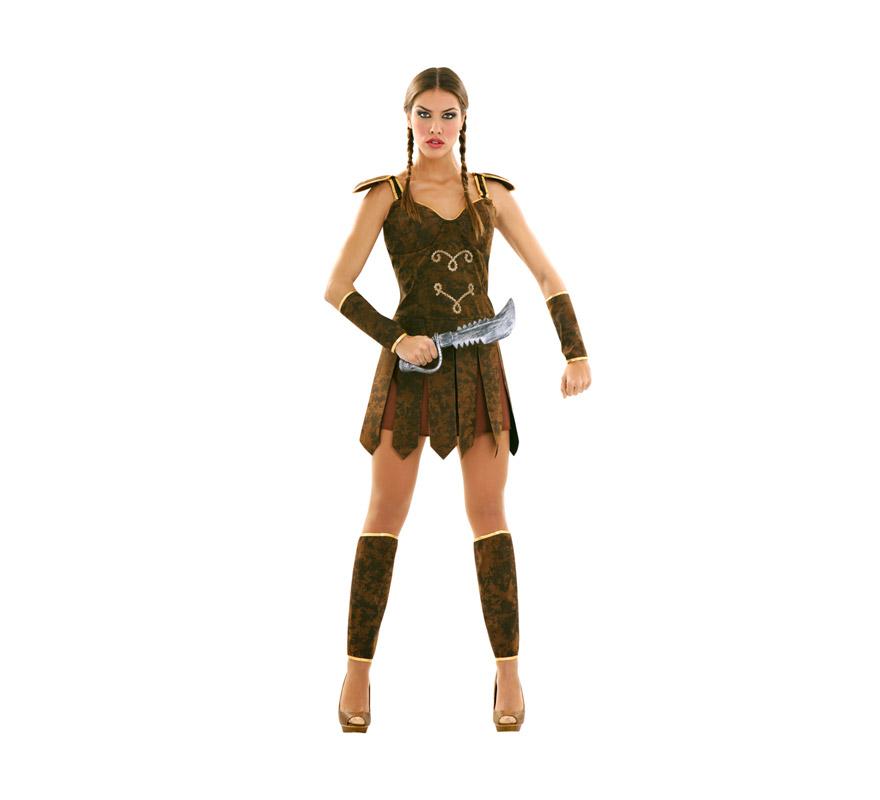 Disfraz de Guerrera o Gladiadora talla M-L mujer. Talla standar 38/42. Incluye vestido, espinilleras y puños. Arma NO incluida, podrás ver muchas referencias en la sección de Complementos.