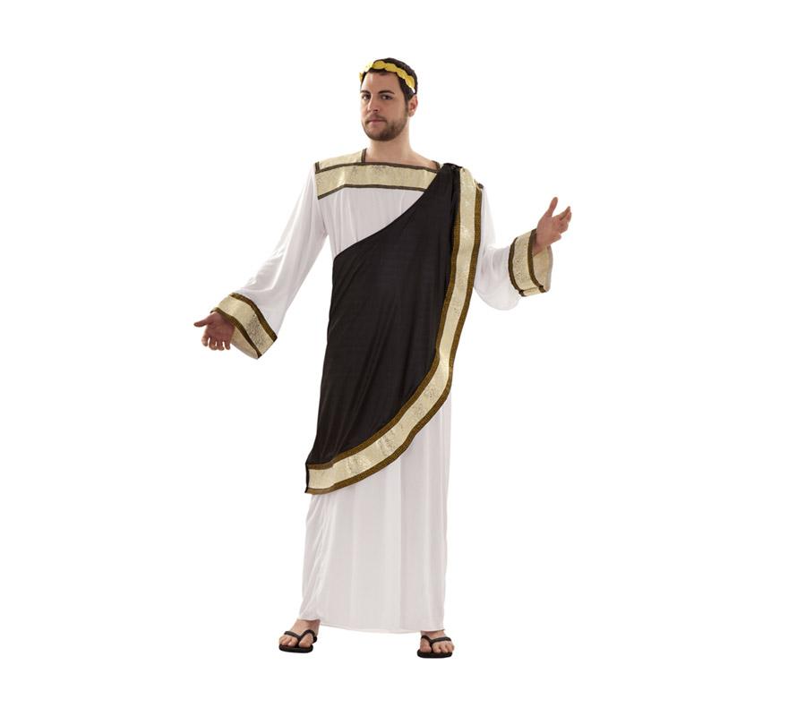 Disfraz de Dios Griego talla M-L para hombre. Talla standar 52/54. Incluye túnica, capa y tocado.
