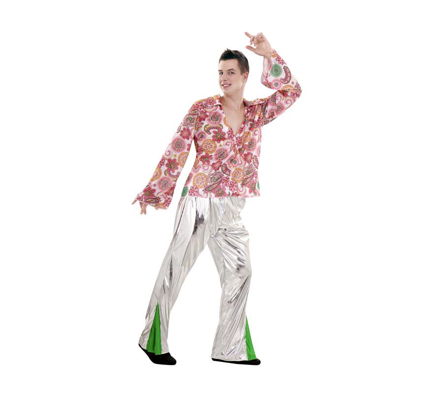 Disfraz de Hippie o Discotequero talla M-L hombre. Talla standar 52/54. Incluye camisa y pantalón.