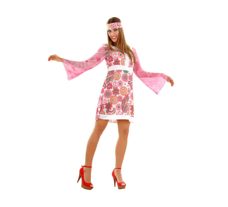 Disfraz de Hippie o Discotequera talla M-L mujer. Talla standar 38/42. Incluye vestido y cinta para el pelo.