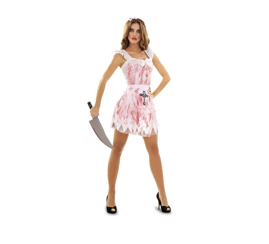 Disfraz de Criada Loca talla M-L mujer para Halloween. Talla 38/42. Incluye vestido, delantal, enagua y tocado. El precio NO incluye el cuchillo que le da un toque más al disfraz, como todos los Complementos, lo podrás ver en nuestra sección de Accesorios - Armas.