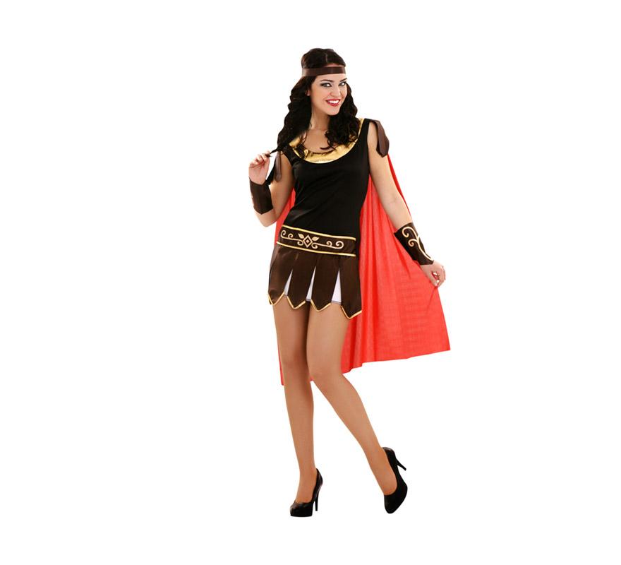 Disfraz de mujer Gladiadora talla standar M-L = 38/42. Incluye vestido, capa, muñequera y cinta para el pelo.