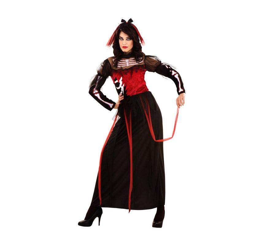 Disfraz de Novia Esqueleto talla M-L para mujer. Talla standar 38/42. Incluye vestido y tocado.