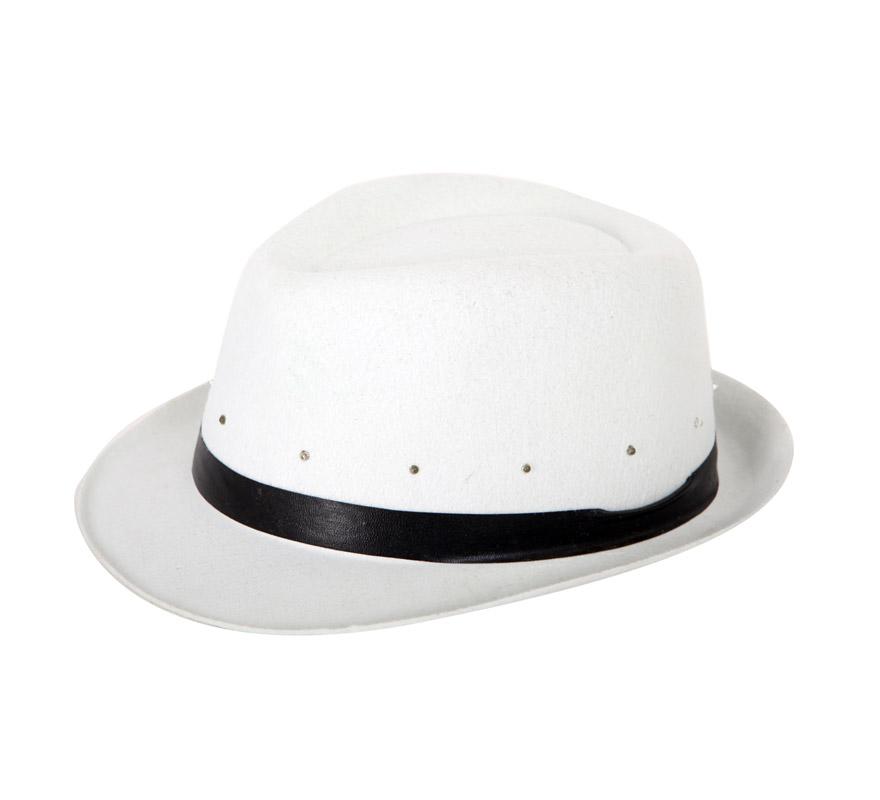 Sombrero de Gánster blanco con luz. Perfecto para Despedidas de Soltera o Soltero.