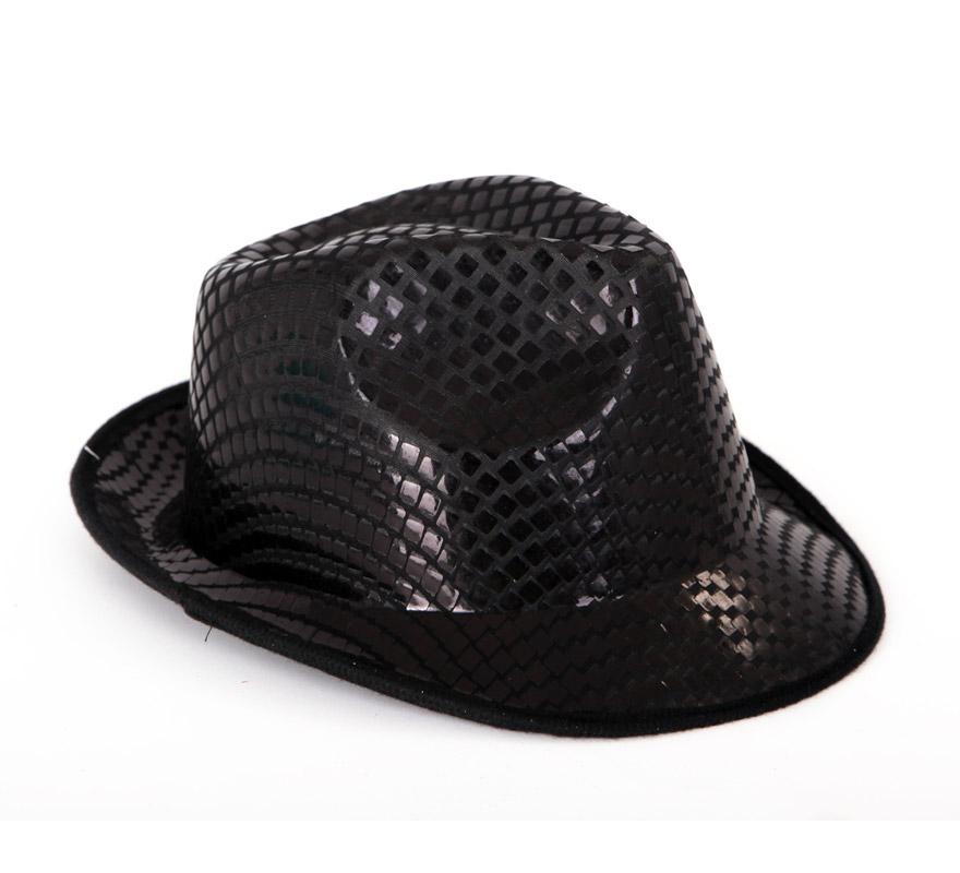 Sombrero Ganster negro con Lentejuelas. Perfecto para Despedidas de Soltera y para bailes de Academias, Gimnasios o Colegios.