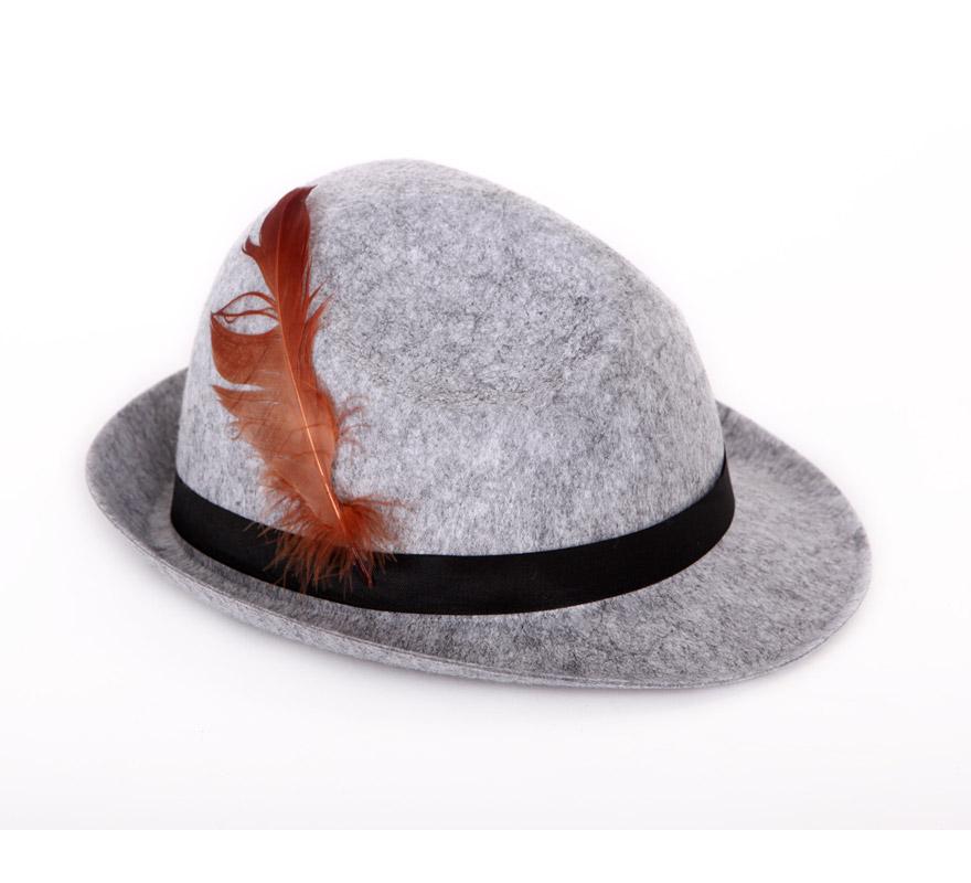 Sombrero de Tirolés gris con pluma.