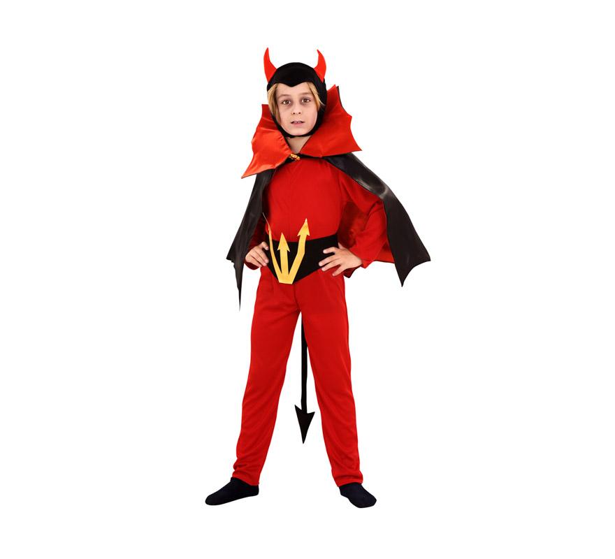 Disfraz de Diablo con capa Siniestro para niños de 5 a 6 años. Incluye mono, verdugo, capa y cinturón.