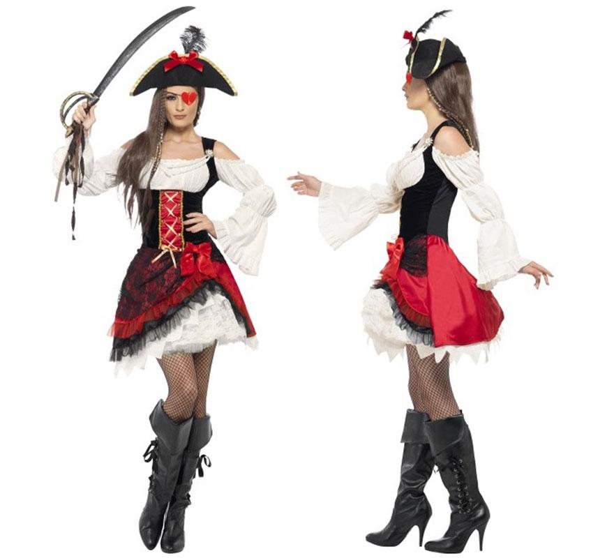Disfraz de Mujer Pirata Glamurosa talla S 36/38. Incluye Sombrero pero no incluye parche, espada, botas ni medias. Disfraz de único y de alta calidad.