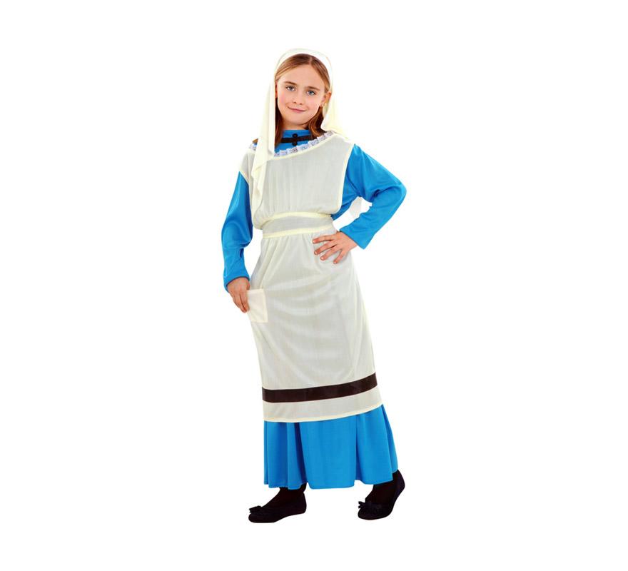Disfraz de Lavandera para niñas de 7 a 9 años. Incluye vestido, delantal con peto y pañuelo. También es perfecto como disfraz Medieval.