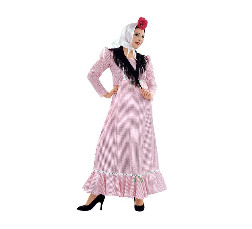 Disfraz de Madrileña o Chulapa para mujer. Talla XL 48/50. Incluye vestido, pañuelo de la cabeza y mantoncillo. Flor NO incluida. Éste disfraz es ideal para la Feria de San Isidro de Madrid y para cualquier Fiesta de disfraces del año. La pareja de éste disfraz es la ref. 08270BT o 08271BT que es el disfraz de Madrileño en talla Universal y en talla XL.